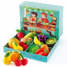 DJECO 06621 Drewniane Jedzenie - Stragan z warzywami i owocami