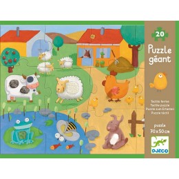 DJECO 07117 Dotykowe puzzle gigant - Farma