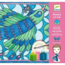 DJECO 09850 Zestaw artystyczny - Malowanie jedwabiu - Paw