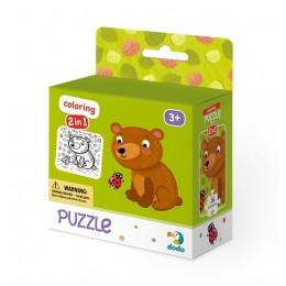 DODO – Puzzle + kolorowanka 16 el. – Misiek 300120