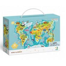 DODO – Puzzle obserwacyjne – 80 el. – Mapa świata zwierząt 300133