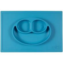 EZPZ Silikonowy talerzyk 2w1 z podkładką - kolor niebieski - Happy Mat 0522