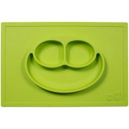 EZPZ Silikonowy talerzyk 2w1 z podkładką - kolor zielony - Happy Mat 0523