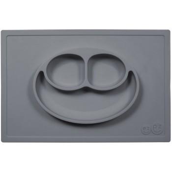 EZPZ Silikonowy talerzyk 2w1 z podkładką - kolor ciemny szary - Happy Mat 0526