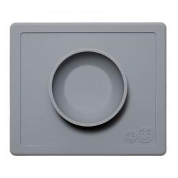 EZPZ Silikonowa miseczka 2w1 z podkładką - kolor ciemny szary - Happy Bowl 0536