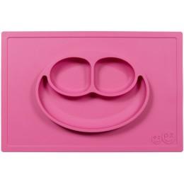 EZPZ Silikonowy talerzyk 2w1 z podkładką - kolor różowy - Happy Mat 0524