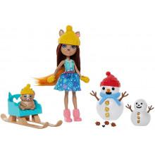 "Enchantimals - ""Lepienie bałwanka"" + lalka Sharlotte Squirrel i wiewiórka Walnut - GNP16"
