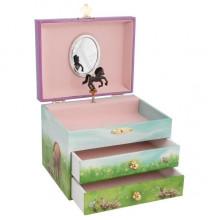 GOKI 15558 Szkatułka z pozytywką i dwiema szufladami – Konie