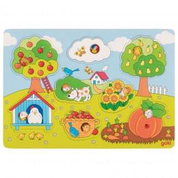 Goki - Układanka drewniana - Puzzle - W ogrodzie 8 el. - 57473