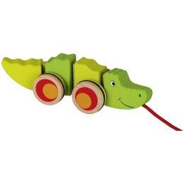 GOKI - Drewniany krokodyl na sznurku - 54903