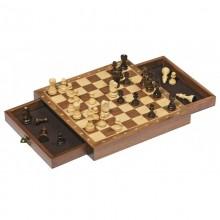 GOKI 56919 Drewniane szachy z szufladami