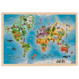 GOKI – Drewniane puzzle z mapą świata – 57460