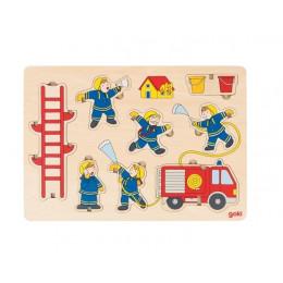 Goki - Układanka drewniana - Puzzle przestrzenne - Straż pożarna 8 el. - 57471