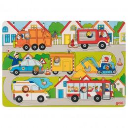 Goki - Układanka drewniana - Puzzle - Pojazdy 8 el. - 57474