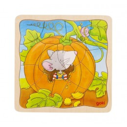 Goki - Puzzle warstwowe - Układanka Myszka z dynią - 57494