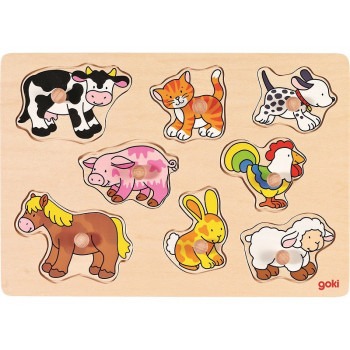 GOKI - Drewniana układanka - Zwierzęta domowe 57502