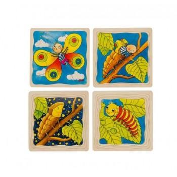 GOKI 57523 Układanka drewniana - Od poczwarki do motyla
