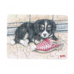 Goki - Mini Puzzle 24el. - Piesek z butem - 57653