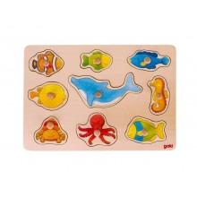GOKI - Drewniana układanka - Zwierzęta morskie 57708