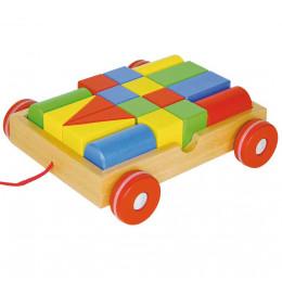 GOKI - Drewniany wózek z klockami - 58558
