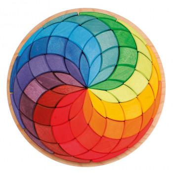 Grimm's - Tęczowa spirala w kole - Drewniana układanka 43370