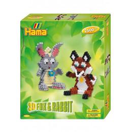 Koraliki Hama Midi - Lis i zając 3D - 2,5 tys. 3247