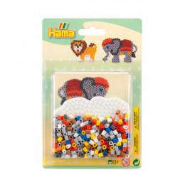 Koraliki Hama Midi - Lew i słoń - Mały zestaw w blistrze 4183