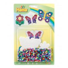Koraliki Hama Midi - Motyle i kwiaty - Zestaw w blistrze 4207