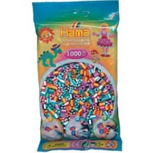 Koraliki Hama MIDI 1000 Koralików 207-90 Mix 6 Kolorów Prążkowane Dwukolorowe