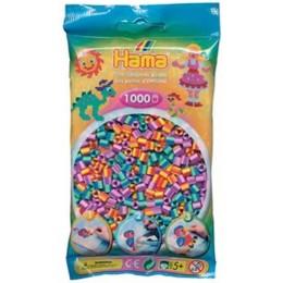 Koraliki Hama MIDI 1000 Koralików 207-92 Mix 3 Kolorów Prążkowane Dwukolorowe