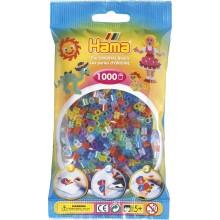 Koraliki Hama MIDI 1000 Koralików 207-54 Kolor MIX 6 Kolorów Transparentnych z Brokatem
