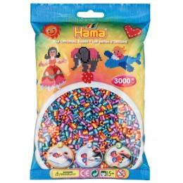 Koraliki Hama MIDI 3000 Koralików 201-92 Mix Kolorów Prążkowane Dwukolorowe