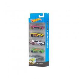 Hot Wheels 1806  Zestaw pięciu samochodów Stunt Circuit DJD25
