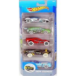 Hot Wheels 1806  Zestaw pięciu samochodów Snow Stormers DJD21