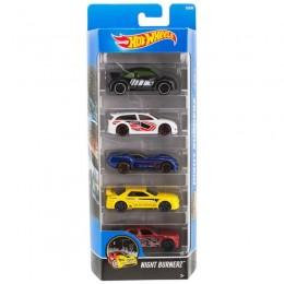 Hot Wheels 1806  Zestaw pięciu samochodów Nightburnerz DJD30