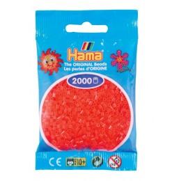 Koraliki Hama Mini 2000 Koralików 501-35 Kolor Czerwone neonowe transparentne