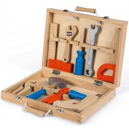 Janod - Walizka z drewnianymi narzędziami - Brico' Kids - J06481
