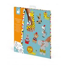 Janod - Zestaw kreatywny - Marionetki z papieru - Cyrkowe zwierzęta - J07784