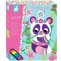 Janod - Zestaw kreatywny - Kolorowy tusz - Panda i przyjaciele - J07812