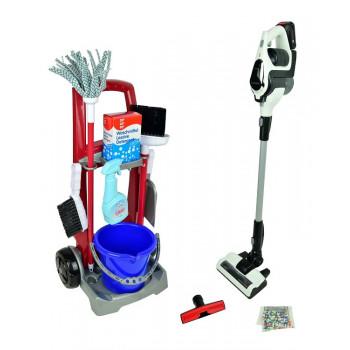 Klein – Zestaw do sprzątania na wózku i odkurzacz Bosch Unlimited – 6096