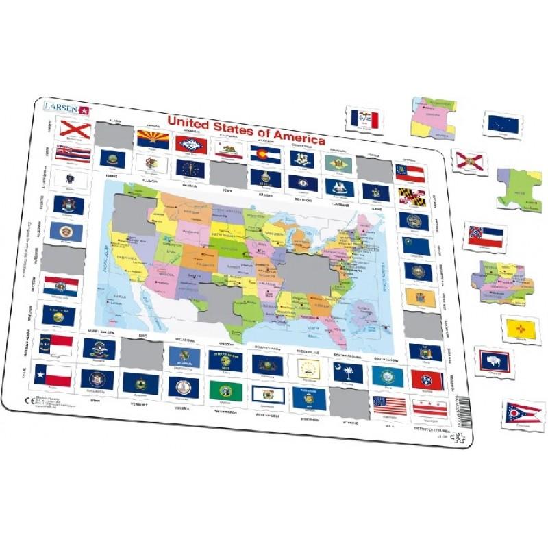 Larsen Mapa Polityczna Stanow Zjednoczonych Ameryki Polnocnej