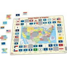 Larsen - Mapa polityczna - Puzzle Stany Zjednoczone USA 07019