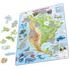 Larsen - Mapa fizyczna Ameryki Północnej - Puzzle 19326