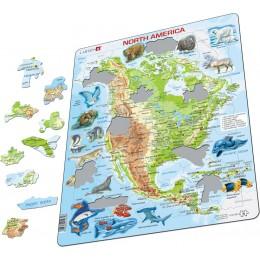Larsen - Mapa fizyczna Ameryki Północnej - Puzzle 19326 - j. angielski