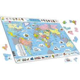Larsen - Mapa polityczna Świata - Puzzle 21015