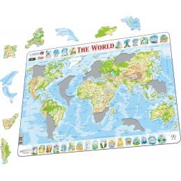 Larsen - Mapa fizyczna Świata - Puzzle 21046