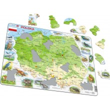 Larsen - Mapa fizyczna Polski i zwierzęta - Puzzle 21985