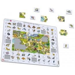 Larsen - Zwierzęta w zoo - Nauka angielskiego - Układanka Puzzle 47053