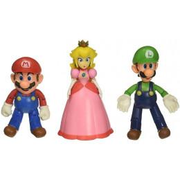 Super Mario – Zestaw figurek Mushroom Kingdom – Mario Luigi i księżniczka Peach 10 cm – 64518