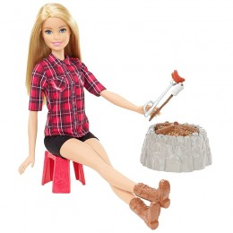 Barbie FDB44 Lalka na biwaku - blondynka